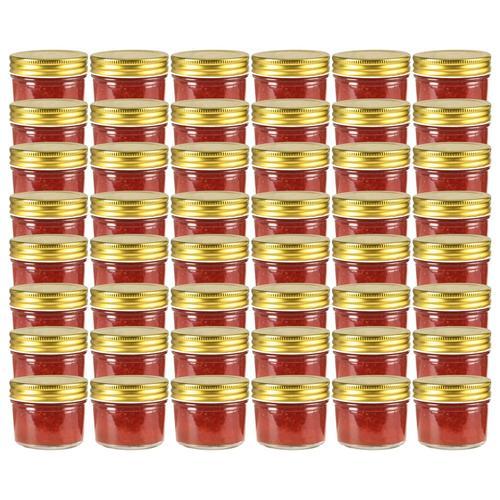 vidaXL Marmeladengläser mit goldenem Deckel 48 Stk. 110 ml