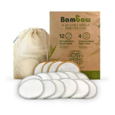 Bambaw - Pack of 16 Natural Reusable Makeup Remover Pads - cotton   natural - Natural/Natural