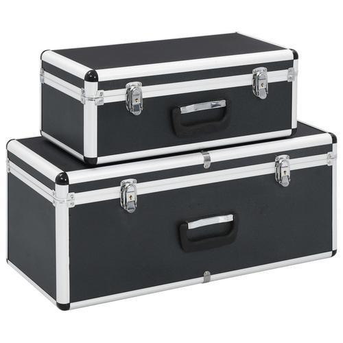 vidaXL Aufbewahrungskoffer 2 Stk. Schwarz Aluminium