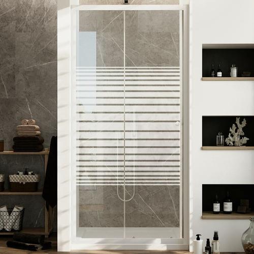 Duschtür Weiß 110 CM H185 mit Milchglas Streifen Mod. Blanc