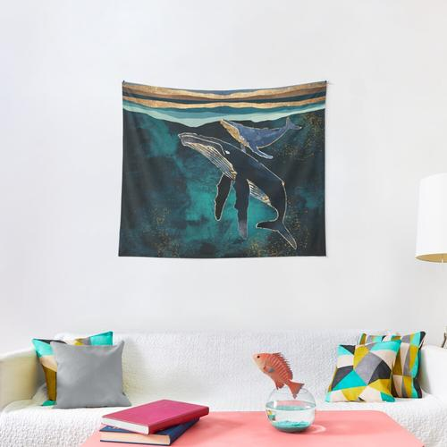 Moonlit Whales Wall Tapestry
