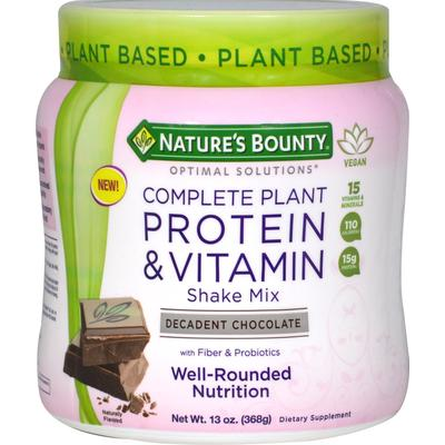 Nature's Bounty Complete Plant Protein & Vitamin Shake Mix Chocolate-13 oz Powder