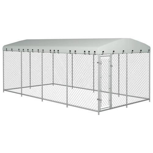vidaXL Outdoor-Hundezwinger mit Überdachung 8x4x2 m