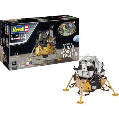 Revell Modellbausatz Apollo 11 Lunar Module Eagle, 1:48, Jubiläumsset mit Basis-Zubehör bunt Kinder Ab 12-15 Jahren Altersempfehlung