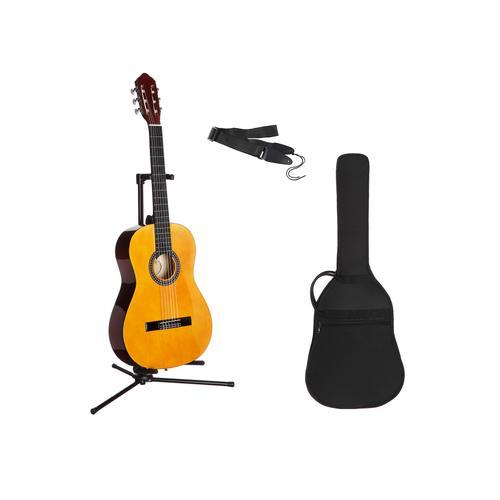 Gitarrenset Konzertgitarre, 1/4, inkl. Gitarrentasche und Gitarrengurt beige Audio SOFORT LIEFERBARE Technik