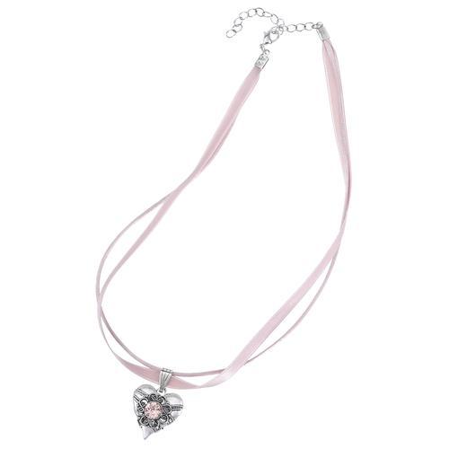 Lusana Kette mit Anhänger, (2 tlg.), Herzanhänger rosa Damen Halsketten Schmuck Anhänger