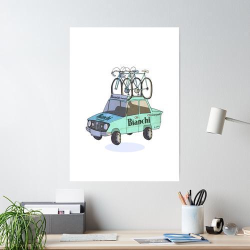 Bianchi Radsport Teamwagen Poster