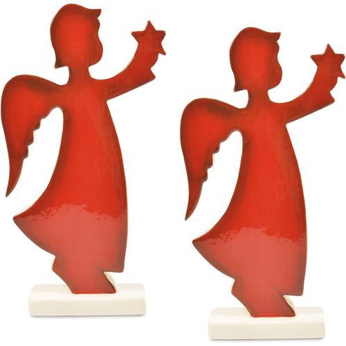 Engelfigur Stern rot Engelfiguren Figuren Skulpturen Wohnaccessoires
