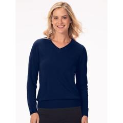 Women's Appleseed's Spindrift V-Neck Pullover, Classic Navy Blue M Misses
