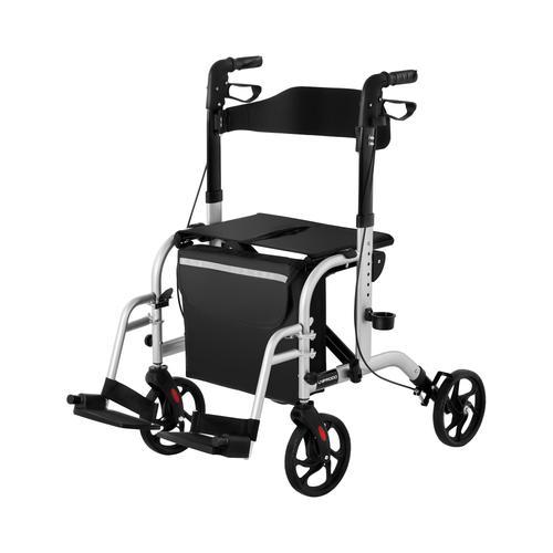 Uniprodo Rollator-Rollstuhl 2-in-1 - silber - 136 kg UNI_ROLL_03 2in1