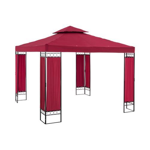 Uniprodo Gartenpavillon - 3 x 3 m - 160 g/m² - weinrot UNI_PERGOLA_3X3RF