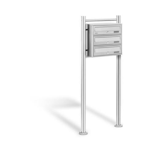 Uniprodo Edelstahl Briefkasten - 3 Fächer UNI_LETTER_01