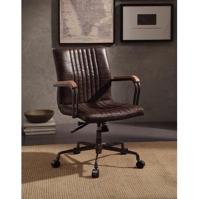 Joslin Executive Office Chair in Distress Chocolate Top Grain Leather - Acme Furniture 92028