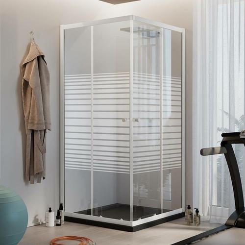 Rechteckig Duschkabine Weiß 100x80 CM H185 mit Milchglas Streifen Mod. Blanc