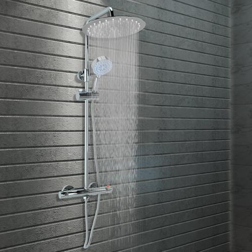 vidaXL Doppelkopf-Duschset mit Thermostat Edelstahl