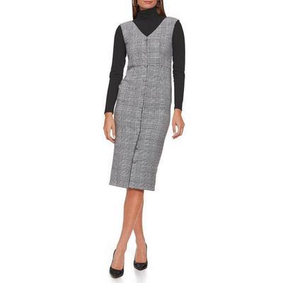 Boston Proper - Plaid Covered Button Dress - Gray Multi - 04