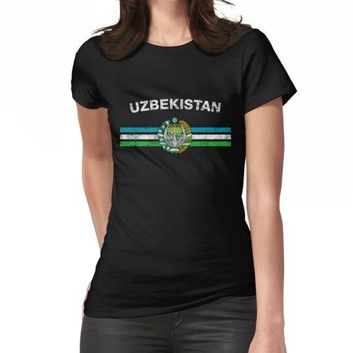 Usbekisches oder Usbekistanisches Flaggen-Hemd - Usbek- oder Usbekistan-Emblem u. Usb Frauen T-Shirt