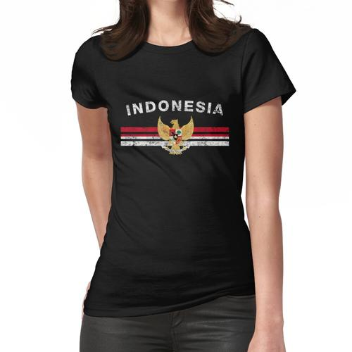 Indonesisches Flaggen-Hemd - indonesisches Emblem u. Indonesien-Flaggen-Hemd Frauen T-Shirt