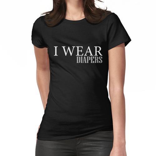 Ich trage Windeln lustige Tshirt Windeln schwarz Grafik T-Shirt Frauen T-Shirt