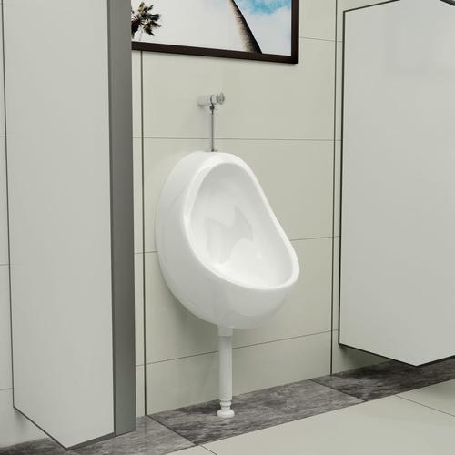 vidaXL Wandurinal mit Spülventil Keramik Weiß