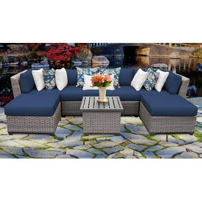 Florence 7 Piece Outdoor Wicker Patio Furniture Set 07a in Navy - TK Classics Florence-07A-Navy