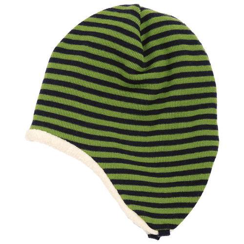 Reiff - Kid's Ohrenmütze Ringel Gr 50/52 schwarz/oliv/grün