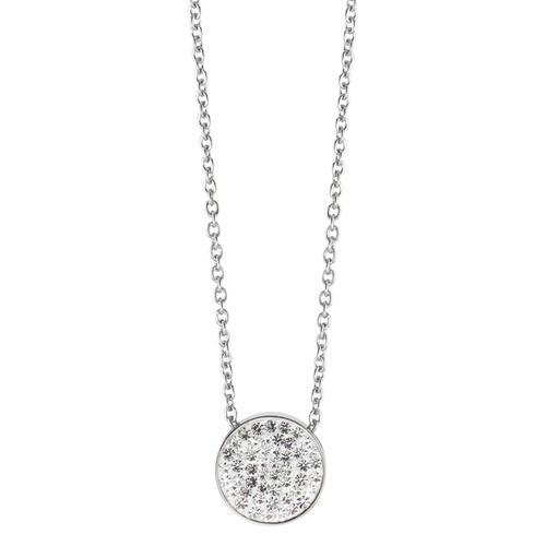 Halskette mit Anhänger Edelstahl Kristall 38 cm Ø12 mm
