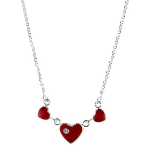 Collier Silber Kristall emailiert Herz 34-37 cm verstellbar