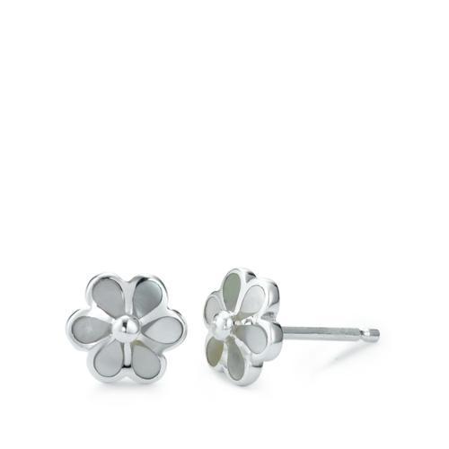 Ohrstecker Silber Perlmutt Blume Ø7 mm