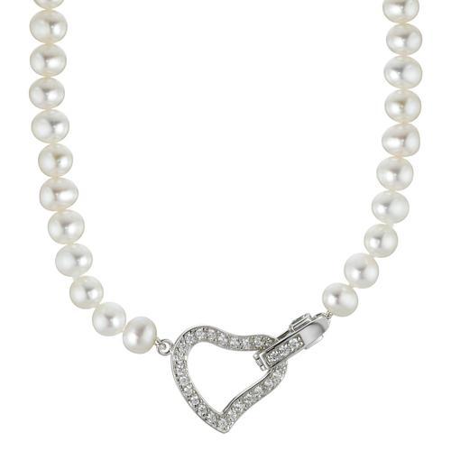 Collier Perlenkette und Zirkonias, 45 cm