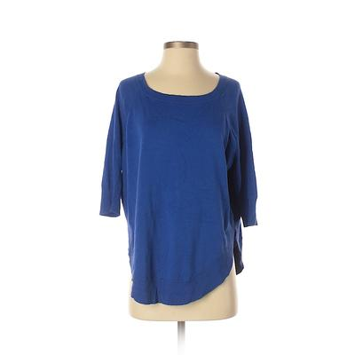 Express Pullover Sweater: Blue Solid Tops - Size X-Small