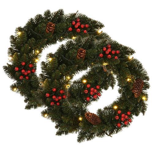 vidaXL Weihnachtskränze 2 Stk. mit Dekoration Grün 45 cm