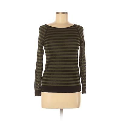 Ann Taylor LOFT Pullover Sweater: Green Stripes Tops - Size Small Petite