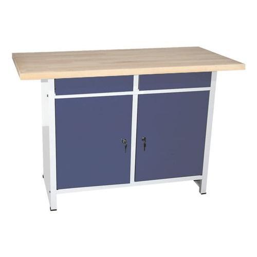 Werkbank 140 cm breit blau, SZ Metall, 84x60 cm
