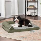 FurHaven Two-Tone Deluxe Chaise Orthopedic Dog Bed w/Removable Cover, Dark Sage, Large