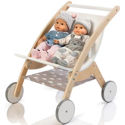 MUSTERKIND Puppen-Zwillingsbuggy Barlia, natur/weiß weiß Kinder Holzspielzeug