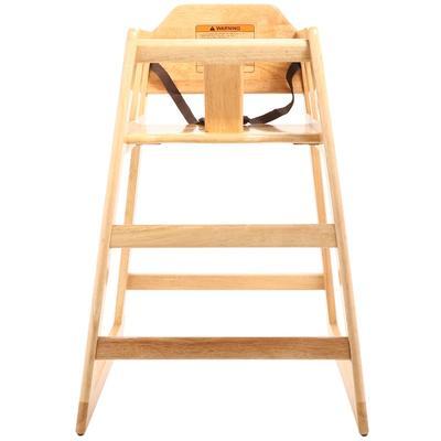 "GET HC-100-MOD-N-1 29"" High Chair w/ Waist Strap - Wood, Natural"