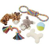 Frisco Jungle Pals Plush & Rope Variety Pack Dog Toy, 6-count