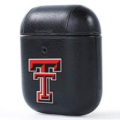 Texas Tech Red Raiders Air Pods Leather Case - Black