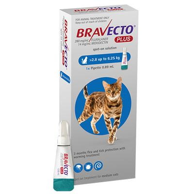 Bravecto Plus For Medium Cats (6.2 To 13.75 Lbs) Blue 2 Doses
