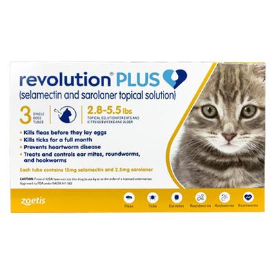 Revolution Plus For Kittens And Small Cats 2.8-5.5lbs (Yellow) 6 Pack