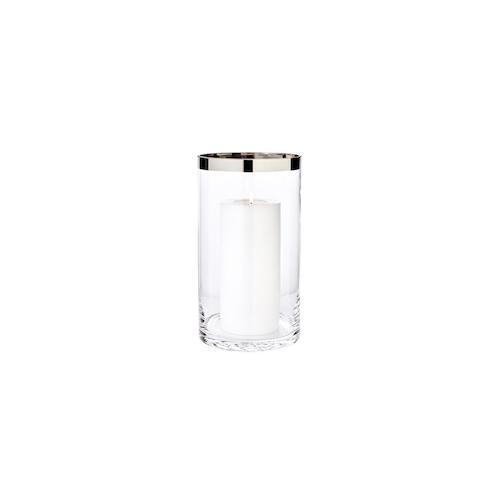 Windlicht Molly, mundgeblasenes Kristallglas mit Platinrand, Höhe 30 cm, Durchmesser 17 cm