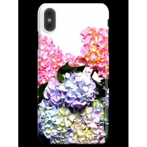 Rosa, lila und blaue Hortensien in Kristallvase iPhone XS Max Handyhülle