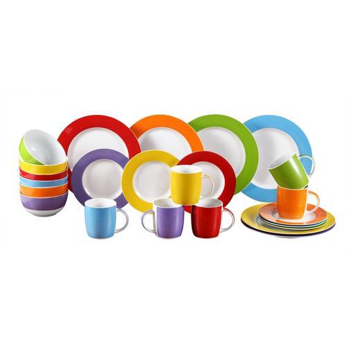 Retsch Arzberg Kombiservice Colour Band, (Set, 24 tlg.), Mix & Match Design bunt Geschirr-Sets Geschirr, Porzellan Tischaccessoires Haushaltswaren