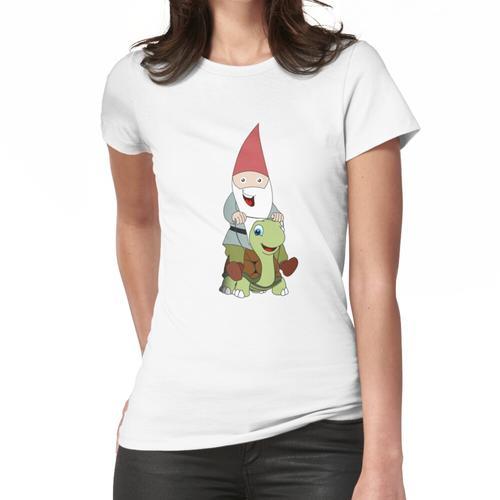 Gartenzwerg, der eine Schildkröte reitet Frauen T-Shirt