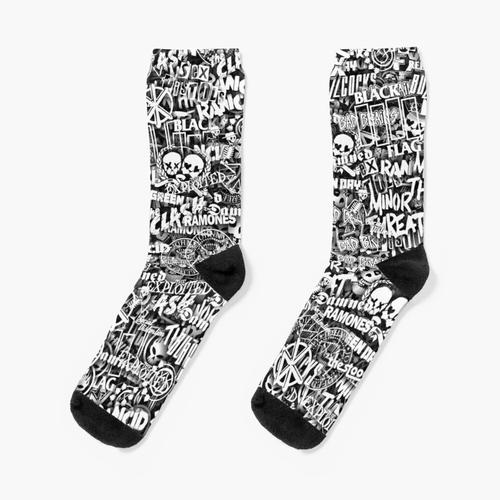 Punk-Rock-Bands. Stickerbombing Socken