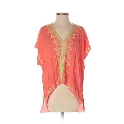 Ava Sky Short Sleeve Blouse: Orange Tops – Size X-Small