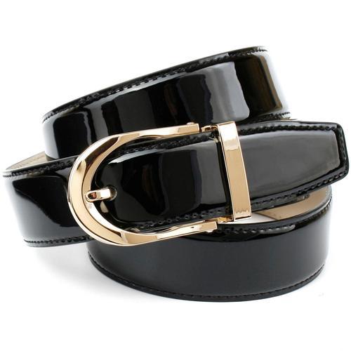 Anthoni Crown Ledergürtel, mit eleganter Dornschließe aus Lackleder schwarz Damen Ledergürtel Gürtel Accessoires
