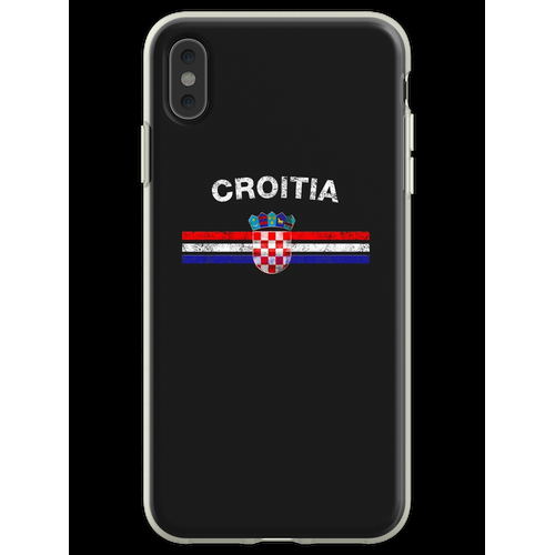 Kroatisches Flaggen-Hemd - kroatisches Emblem u. Kroatien-Flaggen-H Flexible Hülle für iPhone XS Max