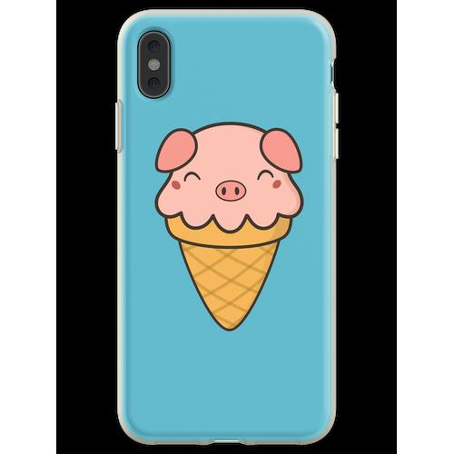 Appetitanregende Kawaii Cute Pig Ice Cream Flexible Hülle für iPhone XS Max